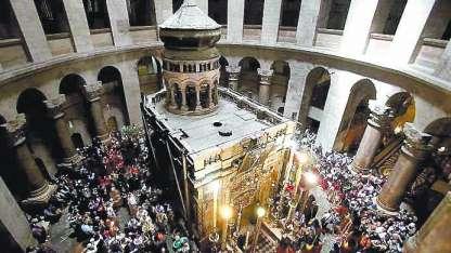 El interior de la Iglesia del Santo Sepulcro.
