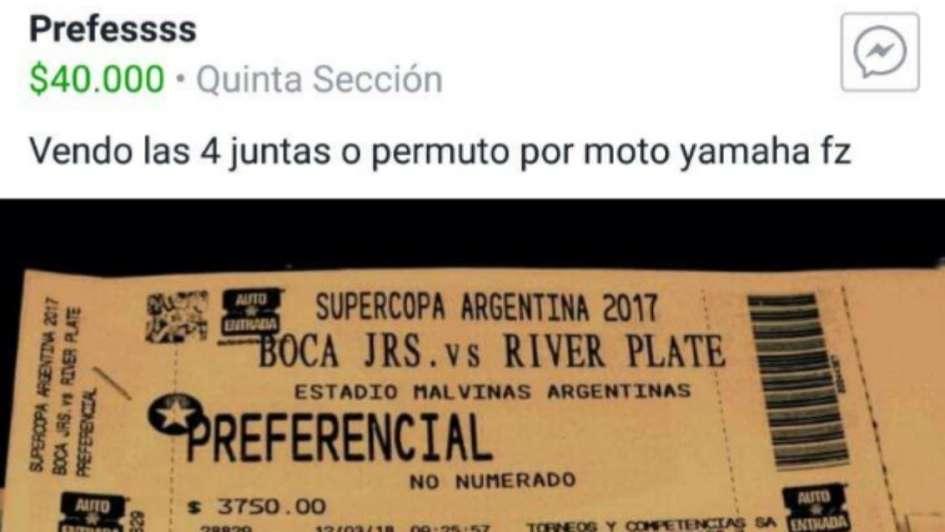 Lo de siempre: piden hasta $40 mil en Facebook por entradas para Boca-River