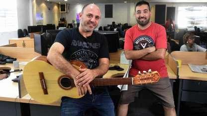 Edu Schmidt y el periodista Rodrigo Olmedo en la redacción central.