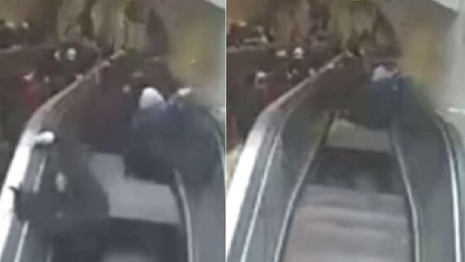 Video: el impactante momento en que una escalera mecánica se