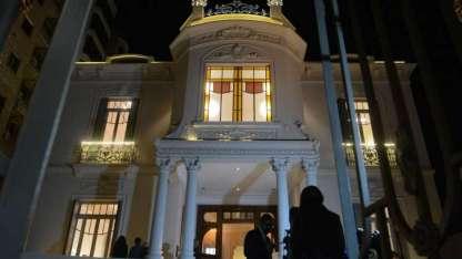 Así recibe a los visitantes nocturnos la restaurada Mansión Stoppel.