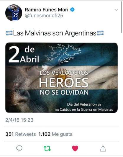 Ingleses insultaron a Funes Mori por su mensaje sobre Malvinas