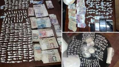 La droga y el dinero incautados en el asentamiento Razquin.