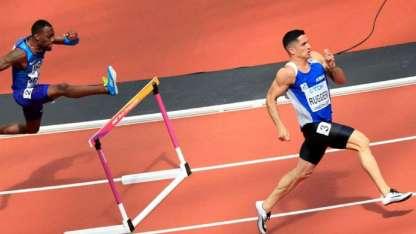 Ruggeri en acción en los 400 metros con vallas. La temporada pasada el maipucino llegó a las semifinales del Mundial.