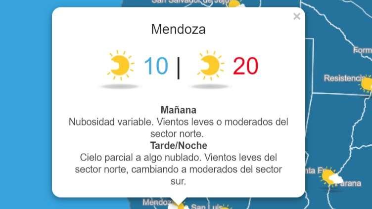Anuncian la llegada de un frente frío que traerá un martes nublado y ventoso a Mendoza
