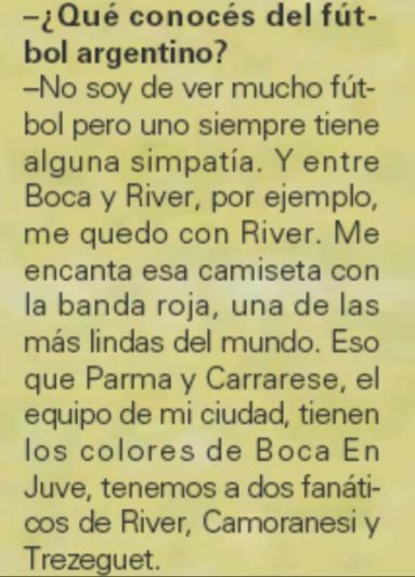 ¿Qué dijo Buffón hace tiempo cuando le preguntaron por River o Boca?
