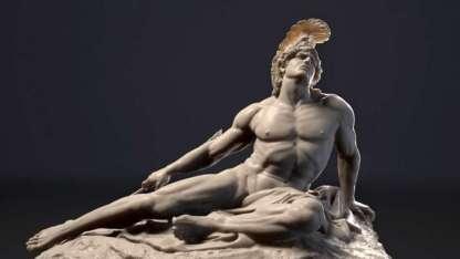 Escultura que representa la debilidad del talón de Aquiles.