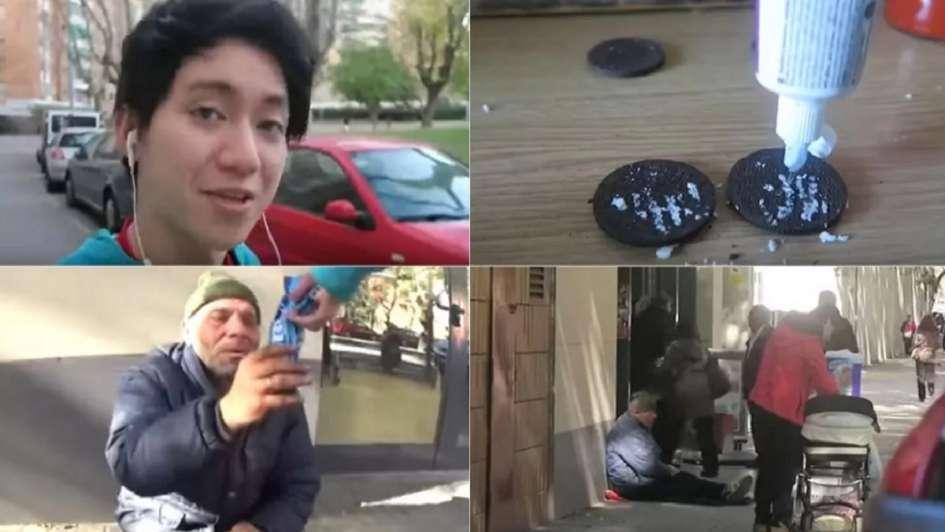 Youtuber humilló a un mendigo dándole galletitas rellenas con dentífrico — Vergonzoso