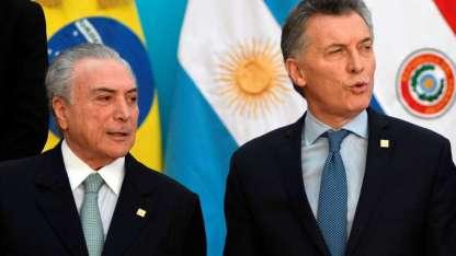 Michel Temer y Mauricio Macri, presidentes de Brasil y Argentina, respectivamente.