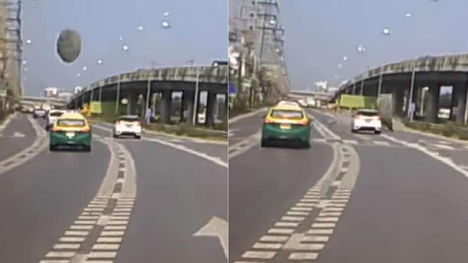 Objeto volador casi impacta a un auto al 'aterrizar' en una calle