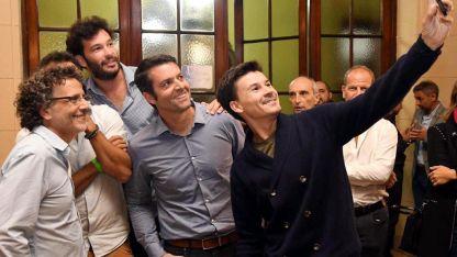 Guillermo Coria, Agustín Calleri y José Acasuso, en el festejo del jueves.