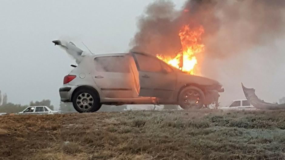 Se incendió un auto en ruta 7