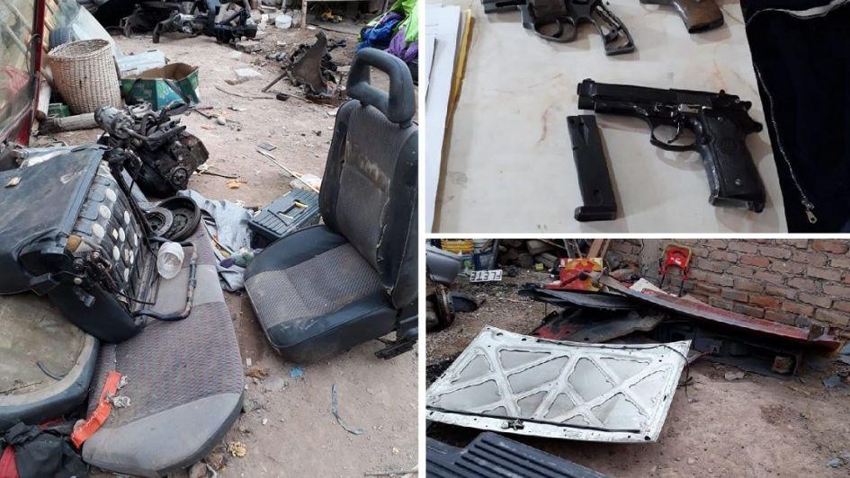 Un hombre que se dedicaba a desmantelar autos en Maipú fue detenido con dos armas