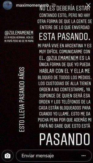 Volvió la telenovela Menem: Máximo acusó a Zulemita en Instagram y  el papá saltó furioso
