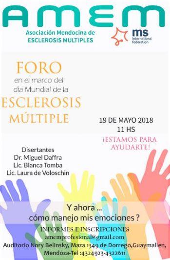 Manejar las emociones, eje de un foro sobre esclerosis múltiple en Mendoza