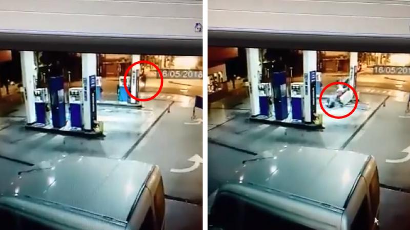 Video: no pudieron frenar y chocaron una moto contra un surtidor de combustible en Palmira