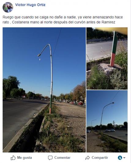 Advierten por el mal estado del alumbrado público en la Costanera