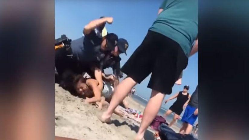 Policía golpea a una bañista en playa de Nueva Jersey