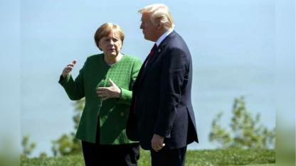 Merkel y Trump, que mantienen fuertes diferencias, se alejaron para dialogar.