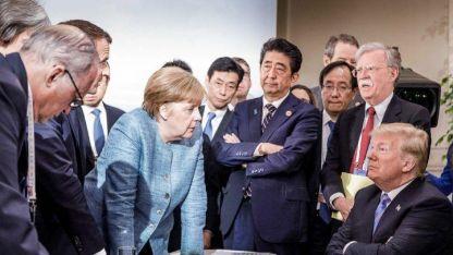 """La foto de merkel que es viral. Calificó las declaraciones de Trump sobre el G7 como """"deprimentes"""" y llamó a Europa a unirse."""