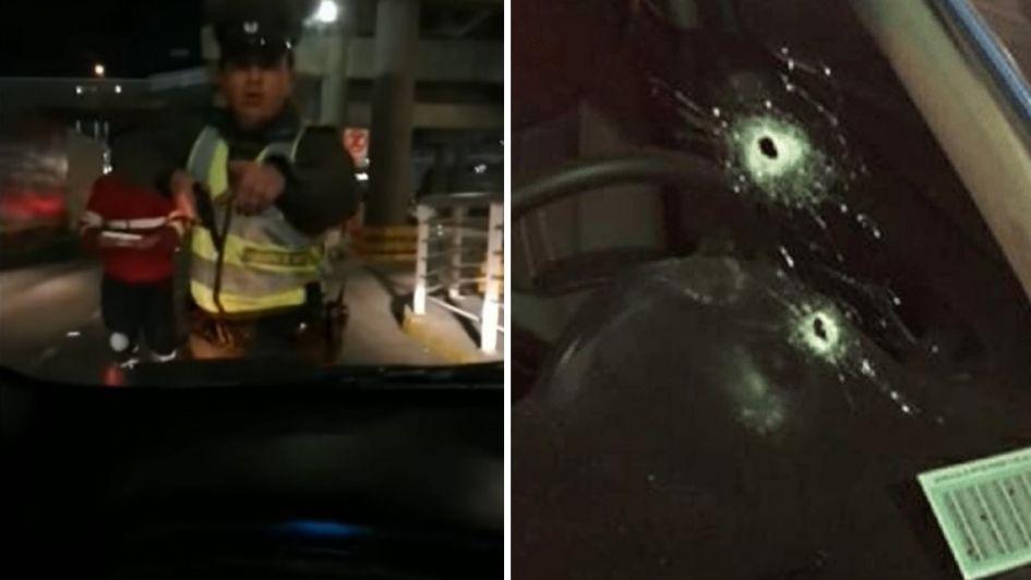 Chofer de Uber grabó el momento en que un carabinero le disparó en el aeropuerto de Chile