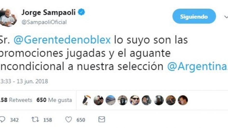 Otro paso en falso de Sampaoli: utilizó su Twitter para una publicidad y lo 'mataron'