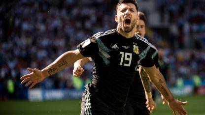 Sergio Agüero gritando el único gol de Argentina frente a Islandia.