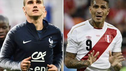 Por un lado el goleador francés Atoine Griezmann y por el otro la máxima figura de Perú, Paolo Guerrero.
