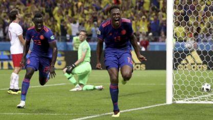 Mina festeja el gol colombiano, luego de un gran centro de James Rodríguez.