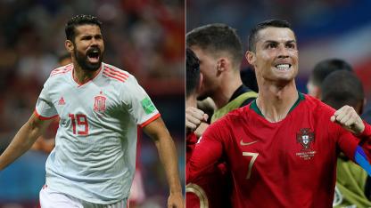 A la izquierda Diego Costa, el goleador español. A la derecha CR7 el ídolo portugués.