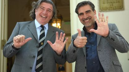 José Luis Ramón y Mario Vadillo, cuando festejaron en 2017 sus ingresos al Congreso y la Legislatura.