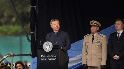 El presidente Mauricio Macri habla durante el acto que se desarrolló en Tucumán con motivo del Día de la Independencia.