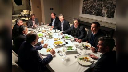 La cena de la pata radical de Cambiemos, con Cornejo como presidente del la UCR, con Macri.
