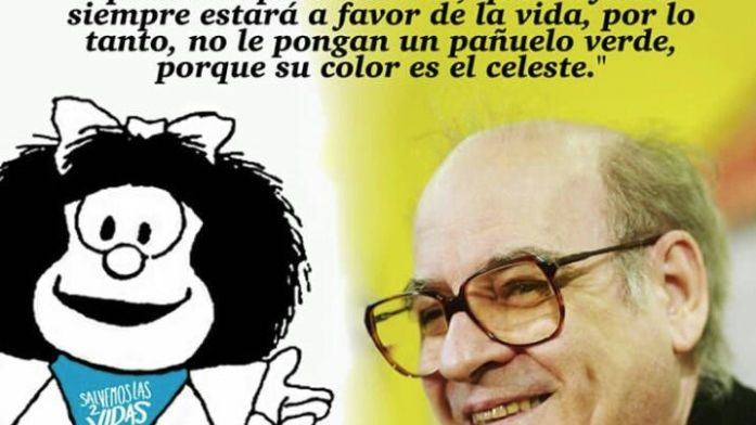 No he autorizado la imagen de Mafalda con el pañuelo azul