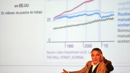 Carlos Palloti mostró que en los últimos 30 años en EEUU los empleos manuales se estancaron y crecieron los cognitivos.
