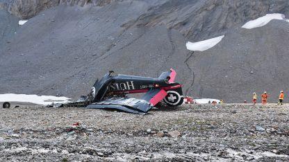 Los restos del Junkers estrellado en Suiza.