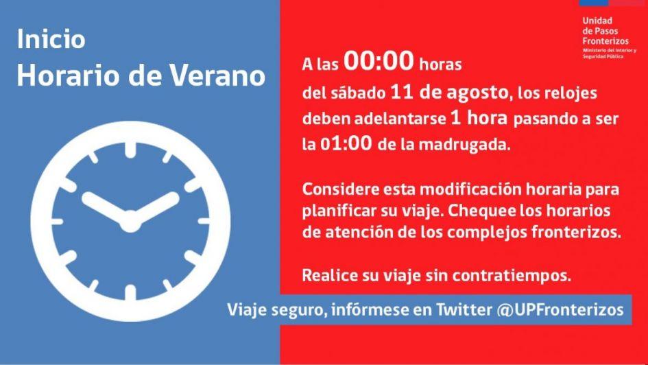 Atención viajeros: el sábado cambia la hora en Chile