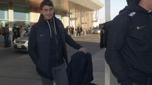 Gonzalo Bertranou, en la llegada de Los Pumas a Mendoza.