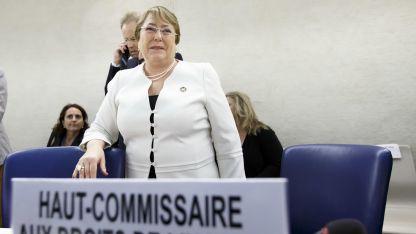Bachelet en la sede europea de la ONU, en Ginebra, antes de hablar ante el Consejo de DDHH.