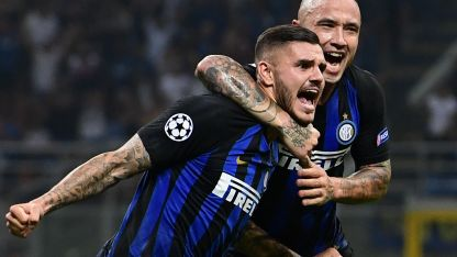 Icardi festeja el empate transitorio del Inter.