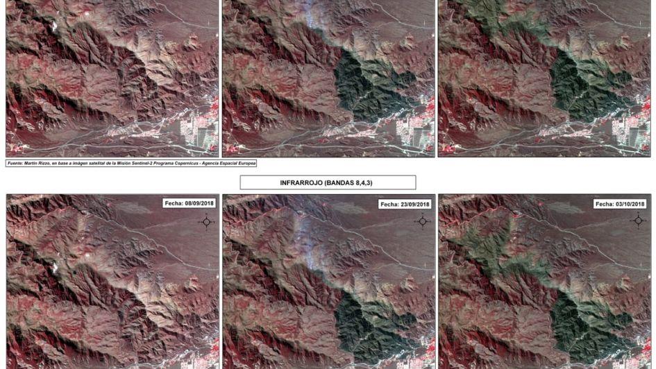 Incendio en el cerro Arco: el antes y el después analizado por estudiantes de la UNCuyo