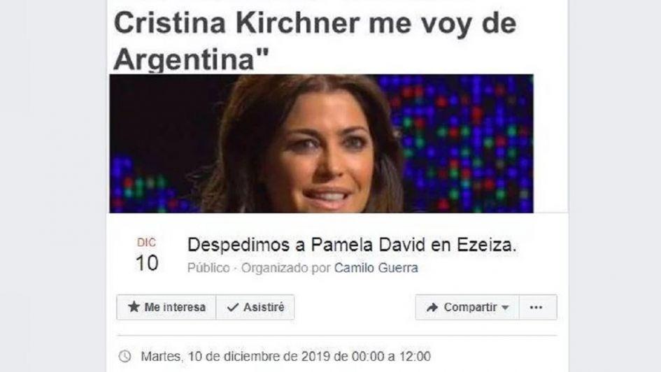 Tras sus dichos sobre CFK, convocan en Facebook a despedir a Pamela David en el aeropuerto