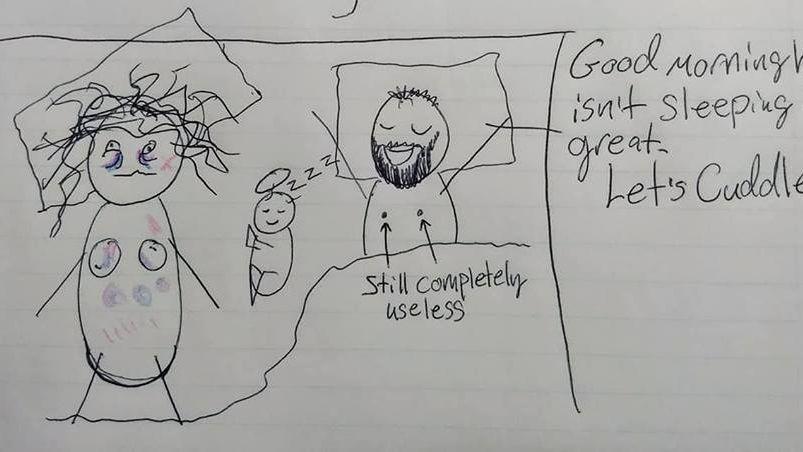 Con dibujitos explicó lo que mamás pasan mientras los padres duermen