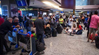 Así lucía el aeropuerto de Mendoza esta mañana.