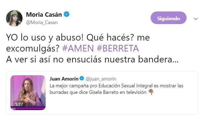 Sin piedad Moria Casán le contestó a Gisela Barreto