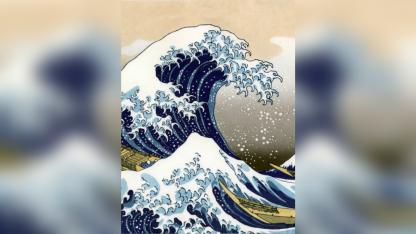 Una pintura en tinta de Hokusai que es referente del arte visual oriental.