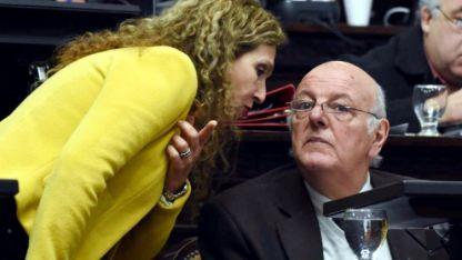 Cara a cara. En la Cámara Alta, Patricia Fadel (PJ) y Juan Carlos Jaliff se cruzan argumentos.