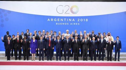 La foto oficial de la cumbre de líderes del G20 en Argentina.