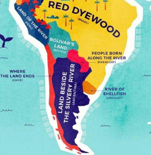 El mapa que muestra el significado literal del nombre de cada país