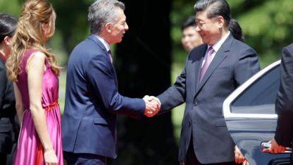 Visita de Estado. El presidente Mauricio Macri junto a su esposa reciben en la Quinta de Olivos al presidente chino Xi Jinping.